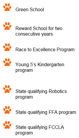 Points of pride:  Green School, Reward School for two consecutive years, Race to Excellence Program, Young 5's Kindergarten program, State qualifying Robotics program, State qualifying FFA program, State qualifying FCCLA program