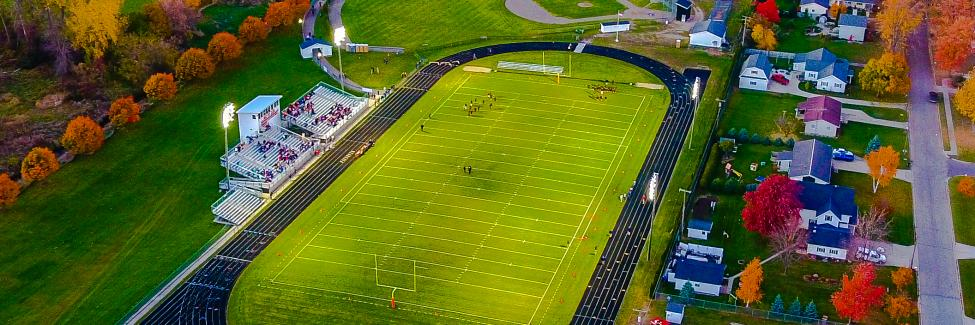 Aerial view of Ubly Community Schools Football Field & Track